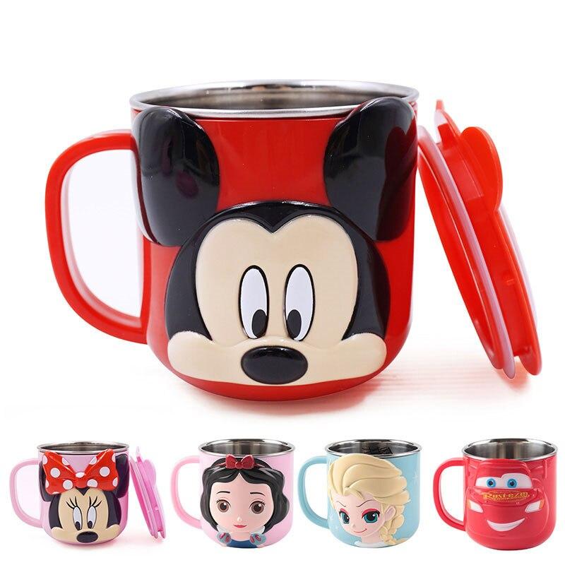 Taza de leche de dibujos animados lindos de los niños de Mickey 300ML bebida creativa taza de jugo de agua taza de acero inoxidable de Mickey Cuenco de alimentación de bebé divertido juguete de doble mango a prueba de derrames taza galletas Snack Bowl regalo Niños Accesorios tazas u