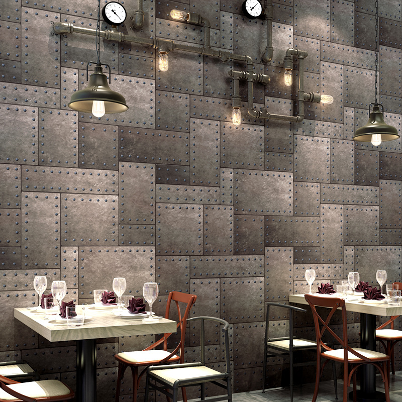Industrial-Style Wallpaper Retro Nostalgic Retro Iron Art Cool Fashion 3D Restaurant Bar Clothing Store Wallpaper