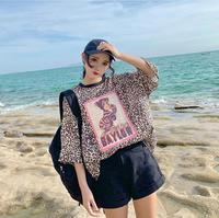 2019 New Summer Leopard Print LadiesCotton T Shirts Femme Short sleeve Creative Tee Tops Women O Neck Loose T shirts