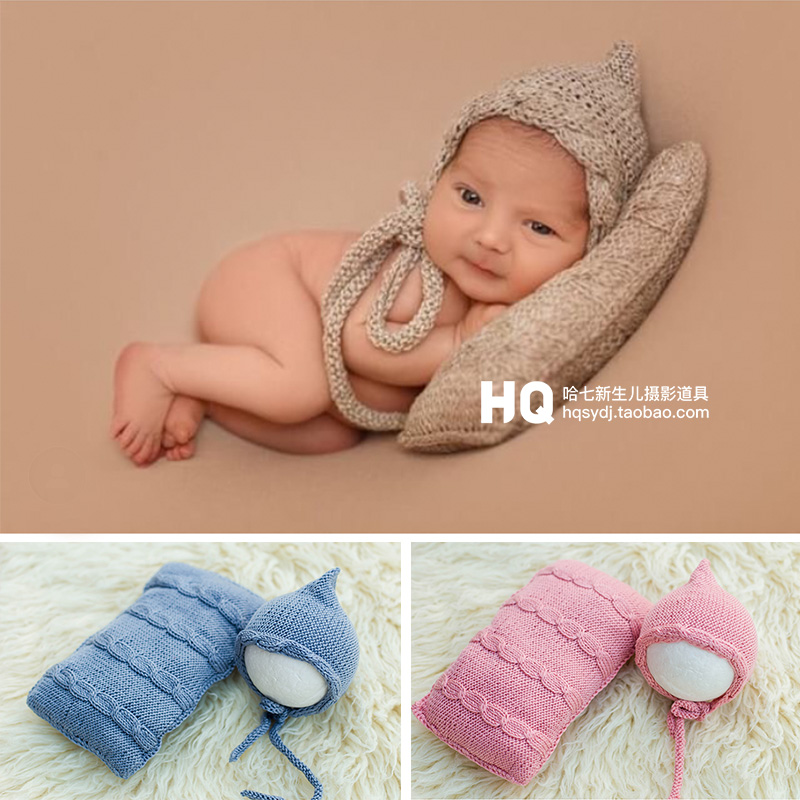 Newborn Baby Head Shaping Pillow and Headband,Velvet Top Knot Bow Headband and Pillow Set Photography Props-Posing Pillow and Headband