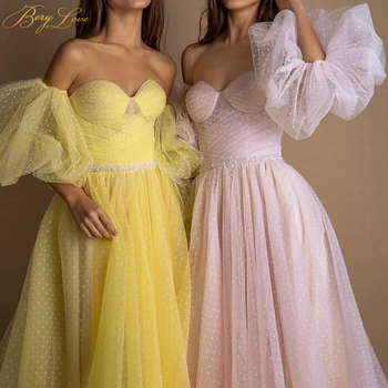 BeryLove Bright Yellow Prom Dress 2019 Pink Dot Tulle A-line Long Party Dress Formal  Latter Sleeves Elegant Dresses Vestido 3