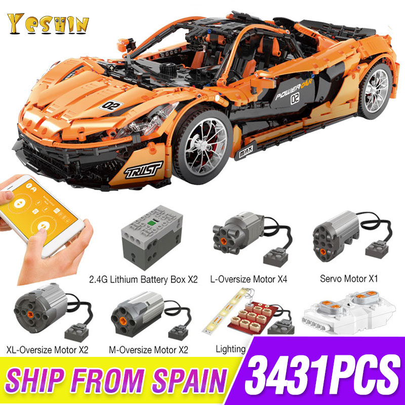 1 To 8 Ratio 13090 Technic Series McLaren P1 Orange Racing Car Set APP RC Model Building Blocks Power Motor Function Toys 20087