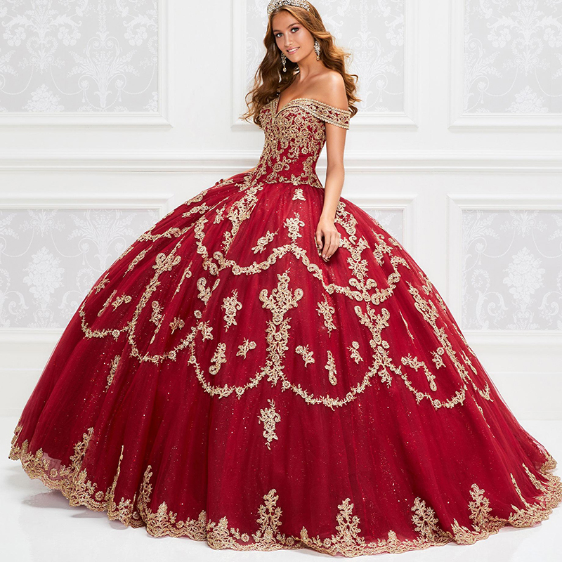 2020 Gorgeous Red Quinceanera Dresses With Gold Appliqued Sequins Lace Up Ball Gown Prom Dress Vestido De Festa Sweet 16 Dress