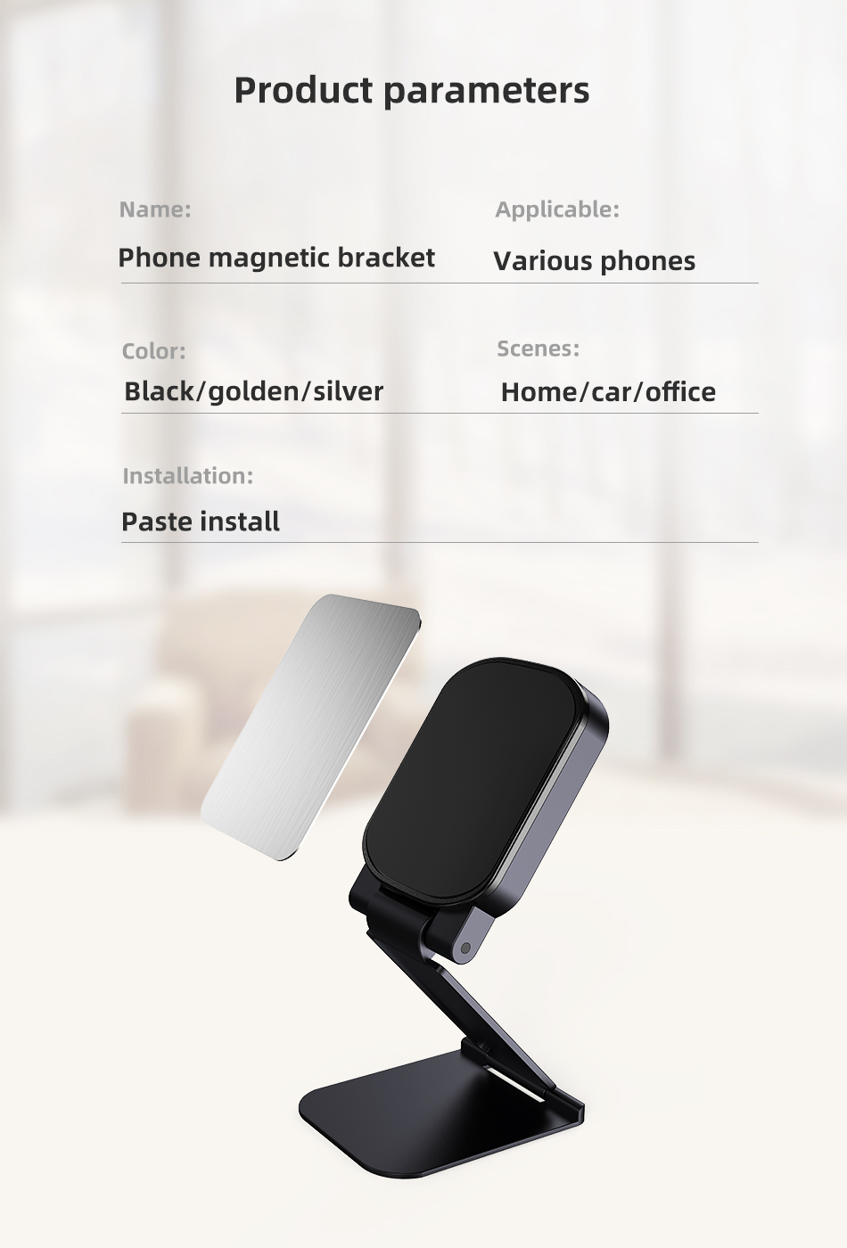 !ACCEZZ Car Magnetic Holder Phone Stand For 11 X Center Console Folding Adjustable Magnet Support Desktop Bracket (12)