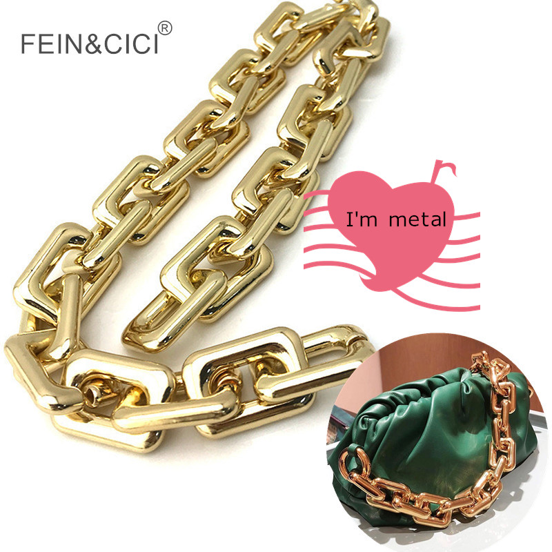 Gold Bronze Metal Thick Large Big Rectangle Chains Strap Famous Brand Handbag Belt Bag Strap Accessories Hardware High Quality