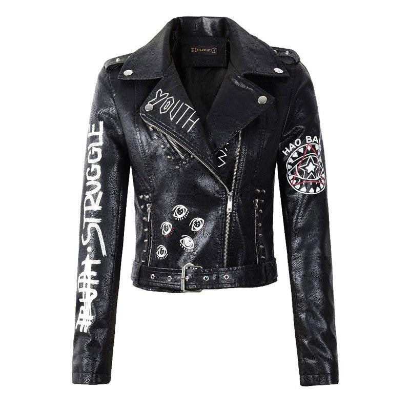 2020 New Autumn Women Winter Faux Soft Leather Jackets Coats Lady Black PU Rivet Zipper Epaulet 3D Print Motorcycle Streetwear