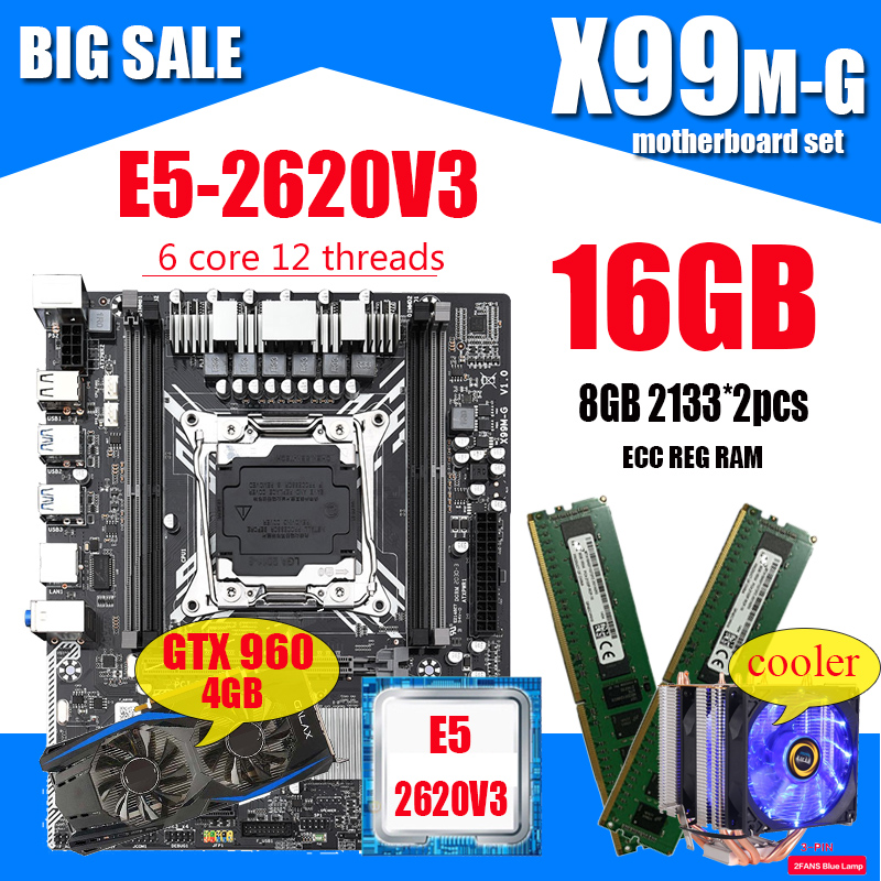 X99 Gaming Motherboard with Intel XEON E5 2620 V3 2*8G DDR4 RECC memory GTX960 4GB and COOLER combo kit set Comparable RX580