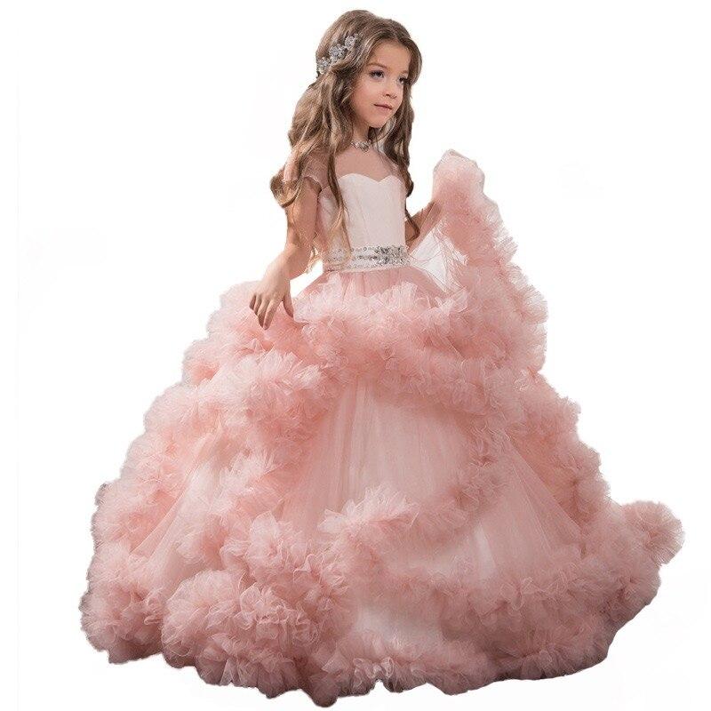 Robe de mariée 2019 robe fille rose robe blanche fille rose tutu robe fille mariage robe de noel fille automne fille