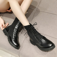 XZ037 Boots Women Fashion Leather Middle Lace-Up Martin Round Toe Shoes Outdoor PU Ladies
