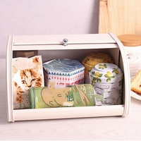 European Roll Top Small Metal Flip Baked Bread Box Desktop Finishing Snack Dust Proof Storage Box Bread Bin Kitchen Food Holder