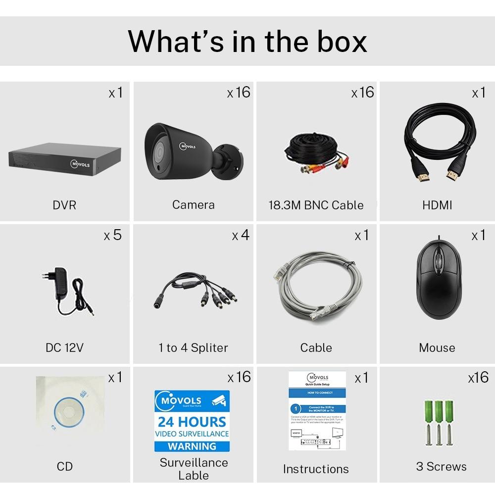 Купить система видеонаблюдения movols 5mp 16 каналов h265 + xvr для