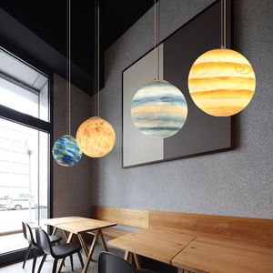 Image 4 - Galaxy Moonโคมไฟแขวนดาวเคราะห์Globeจี้ไฟคริสต์มาสเด็กตกแต่งห้องโคมไฟSaturn JUPITER Earth Sun