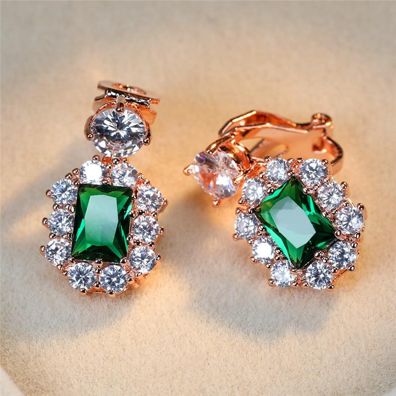 Trendy Female Green Crystal Clip Earrings Cute Silver Color Color Earrings Dainty Rainbow Square Wedding Earrings For Women