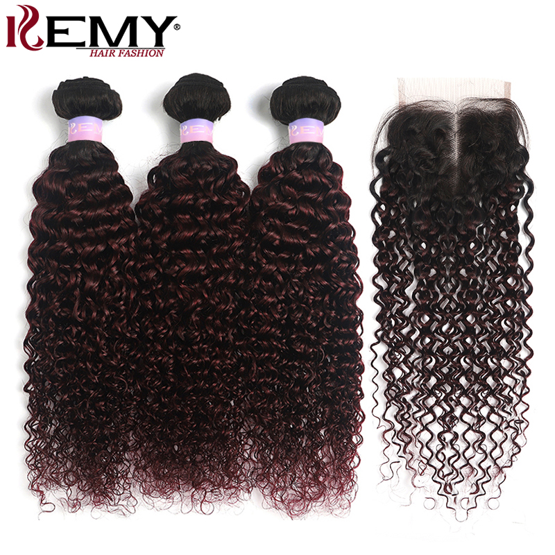 1B 99J/Burgundy Kinky Curly Bundles With Closure 4x4 Ombre Red Brown Brazilian Human Hair Weave Bundles With Closure Non-Remy