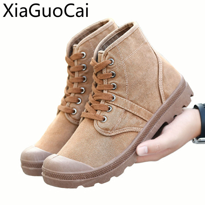 Canvas Shoe Mid-upper Men's Shoes Retro-Old British Leisure High-upper Men's Mountaineering Martin Boots Make Old Cloth Shoes