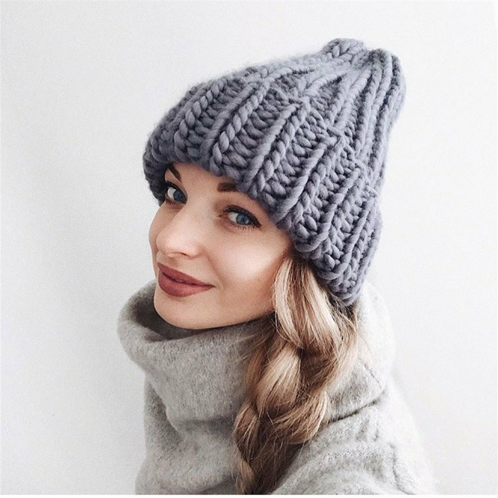 Women Winter Knitted Beanies Hat Thick Soft Warm Coarse Large Knitted Solid Hat Female Ice Ski Bonnet Skullies Beanies Hat Cap 176