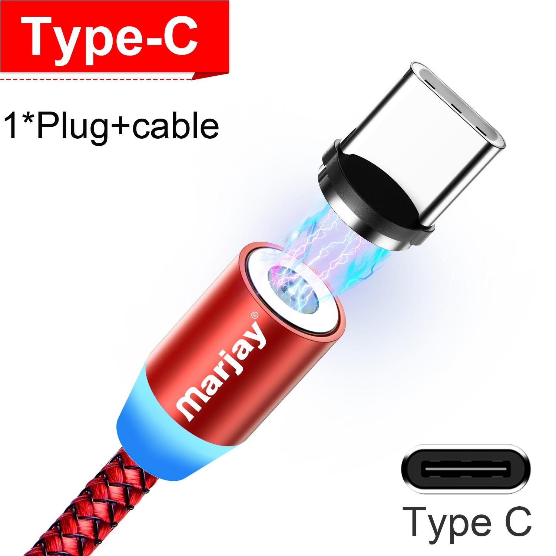 Marjay, магнитная зарядка зарядное устройство, магнитный кабель Micro USB кабель для iPhone, samsung, Android, быстрая зарядка, магнит, usb type-C кабель, шнур для мобильного телефона, провод - Цвет: Red For Type C