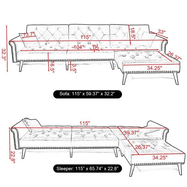 Convertible Sectional Sleeper Sofa 5