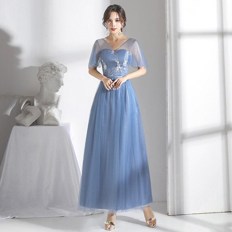 V-neck Bridesmaid Dress Sleeveless Elegant Dress Women For Wedding Party Host Vestidos Mujer Gray Blue Long Dress Sexy Prom Club