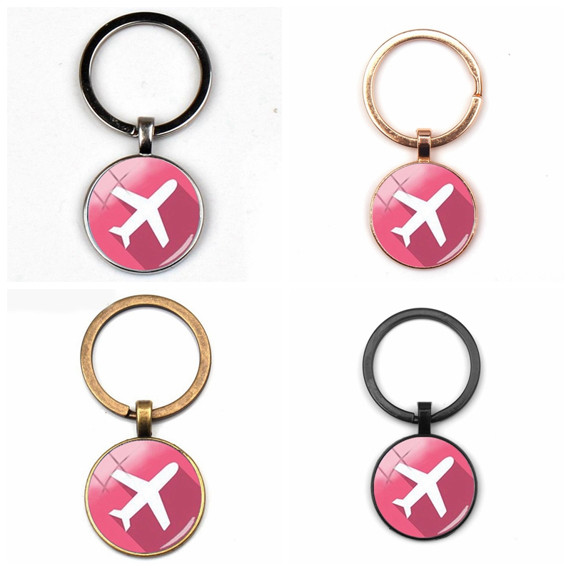 Cute Cartoon Airplane Charm Keychain Gift Cartoon Airplane Key Ring Travel Discovery Glass Dome Souvenir Traveler Party Car Bag image