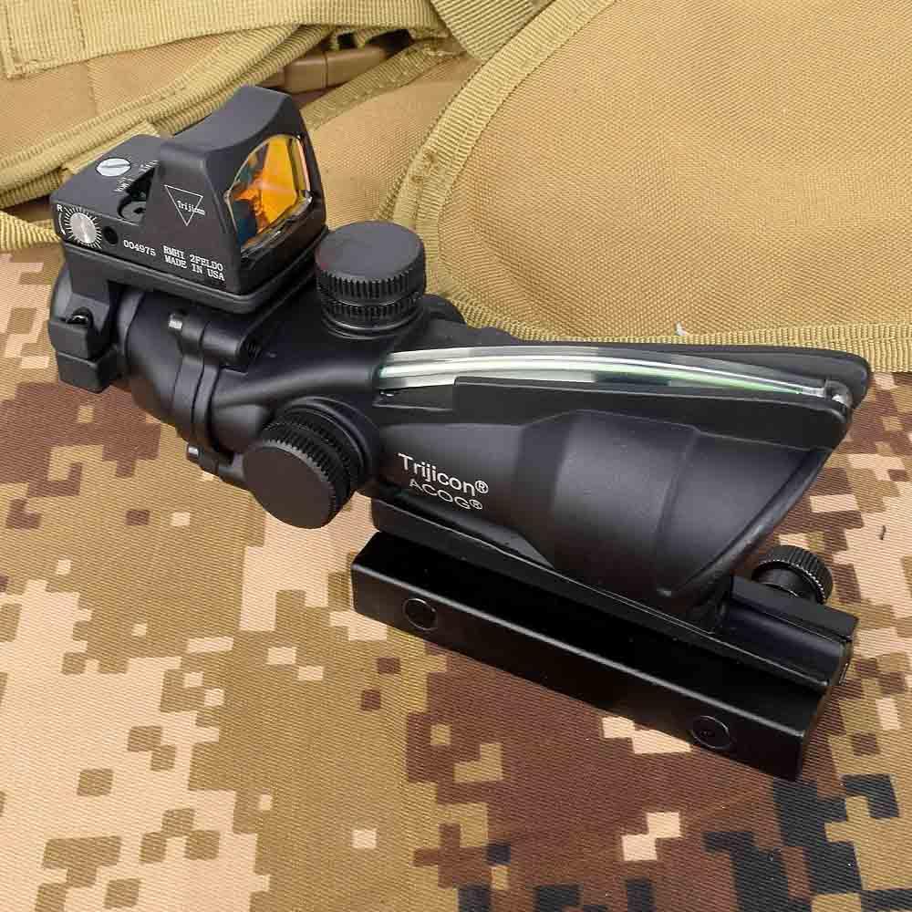 Acog 4x32 Optic Scope Riflescope Cahevron Reticle Fiber Green  Illuminated Optic Sight With Rmr Mini Red Dot Sight