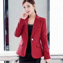 Autumn Women Blazer Jacket 2020 Solid Single Button Short Office Slim Fit Burgun