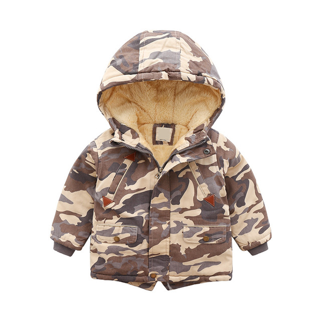 Mode coton vêtements en gros nouveaux vêtements pour enfants mode camouflage manteau enfants plus épais coton veste 2019 hiver