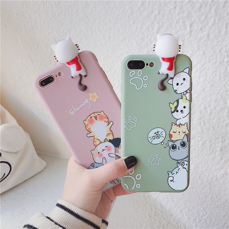 NEW 2020 <font><b>Cases</b></font> For <font><b>OPPO</b></font> R15X RX17 Neo Ax7 Pro R9S <font><b>F1</b></font> Plus R11S R11 R15 3D Cute Cartoon Cat Back <font><b>Phone</b></font> <font><b>Case</b></font> Cover Fundas Coque image