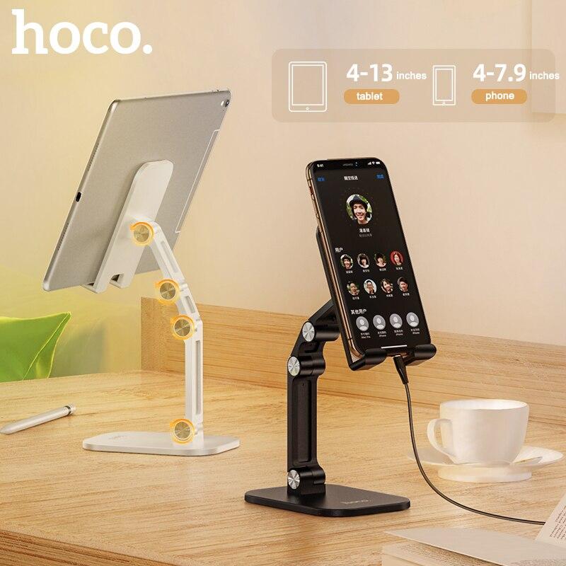 Soporte de Metal HOCO para escritorio para tableta soporte plegable extensible soporte de escritorio para teléfono móvil soporte ajustable para iPhone iPad Xiaomi Mesa