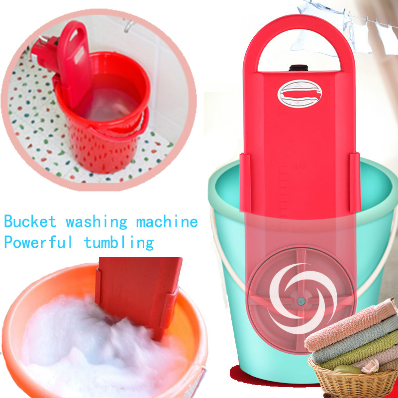 Cheap Portable Mini Washing Machine Wall Hanging MINI Bucket Clothes Washer Timing 15min Fast Power Wash 220V image