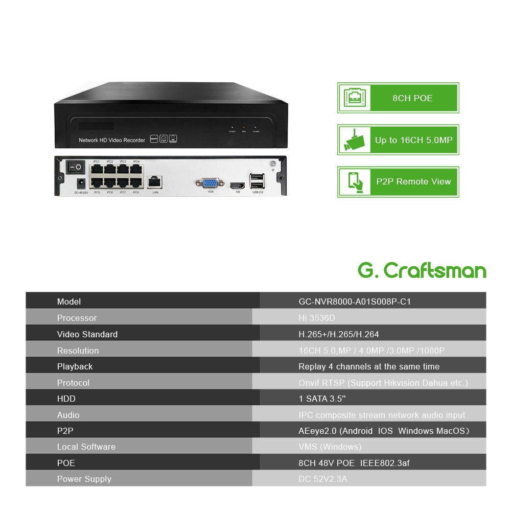 Image 3 - 4ch 5MP Audio POE Kit H.265 System CCTV Security NVR Outdoor Waterproof IP Camera Surveillance Alarm Video Record G.Craftsman-in Surveillance System from Security & Protection