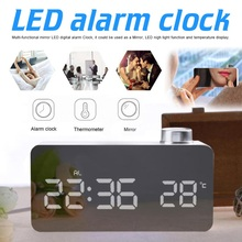 Mirror LED Alarm Clock Night Lights Thermometer Digital Wall Lamp Wake Up Light Snooze Table Home Decoration