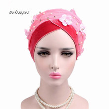 Helisopus Women New Beaded Mesh Flower Velvet Turban Women Hair Accessories Fashion Wrapped Head Scarf Hijab Cap Muslim Hat