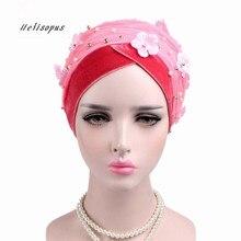 Helisopus feminino novo frisado malha flor veludo turbante acessórios para o cabelo moda envolto cabeça cachecol hijab boné muçulmano