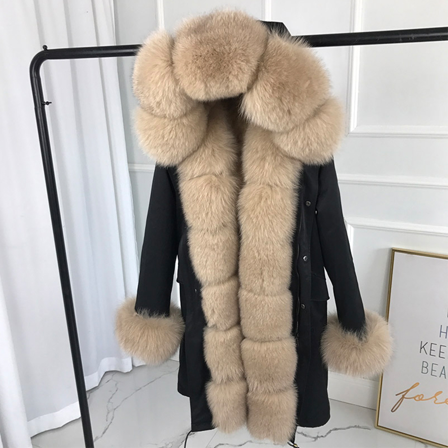 Parka Jacket Women  New Large Fox Fur Collar Rabbit Fur Liner Thick Warm Fox Fur Hood Detachable Casual Natural Fur Coat