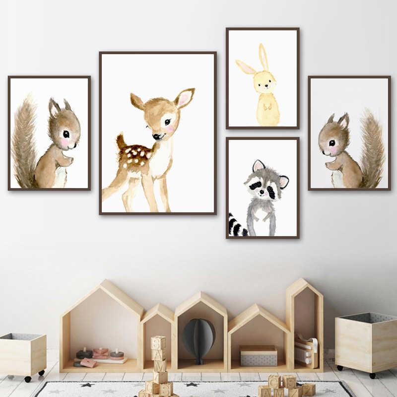 Nursery Hutan Dinding Seni Kelinci Rusa Lukisan Kanvas Bayi Hewan Poster dan Cetakan atau Netral Mengenai Saham Tupai Gambar untuk Ruang Tamu