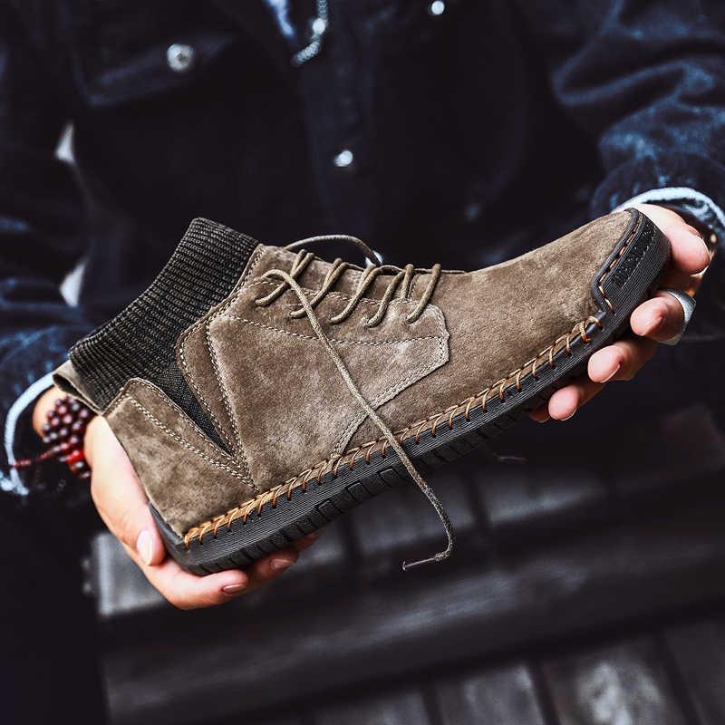 Inek süet deri erkek botları moda sıcak kış kar botları su geçirmez kış ayakkabı deri erkek yarım çizmeler kürk erkek ayakkabısı