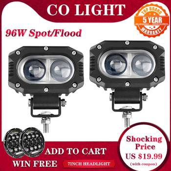 цена на CO LIGHT 4 96W Super Bright Offroad LED Work Light Bar Spot Flood Beam DRL 4x4 LED Light ATV LED Bar For Lada 4WD Truck Car SUV