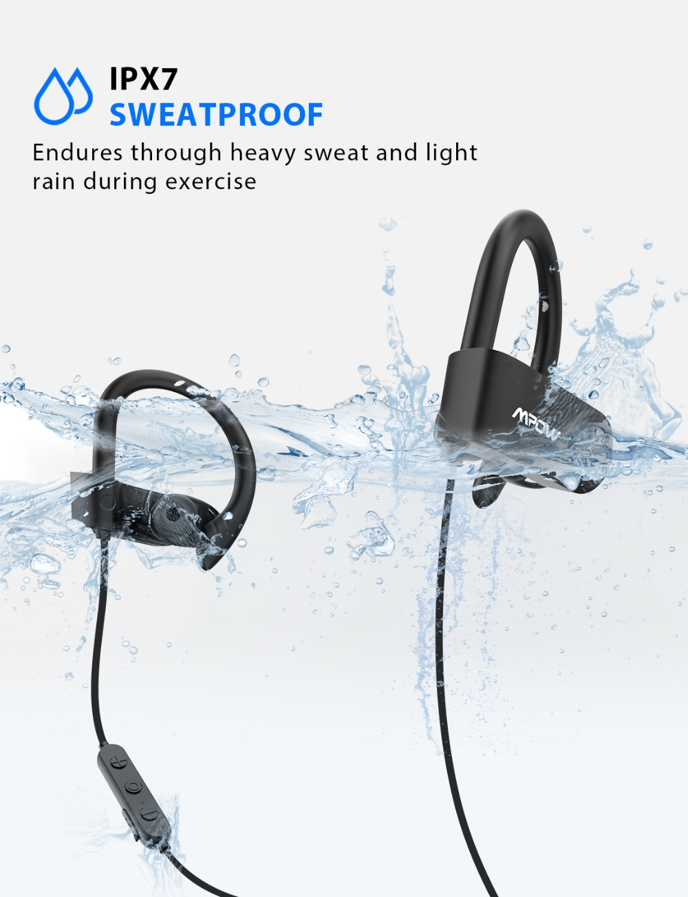 Mpow D9 Bluetooth 5.0 Earphone Aptx Wireless Sport Headphone With IPX7 Waterproof Noise Cancelling Mic 18H Playtime For Running (5)