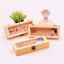 Kpop Bangtan Boys Retro Pine Rectangular Wooden Storage Box Flip Solid Wood Gift Box Handmade Craft home Case box