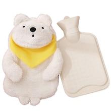 Резиновая сумка для горячей воды грелка для рук согревающая бутылка для ног теплая плюшевая ткань зимний согревающий милый подарок-белый медведь