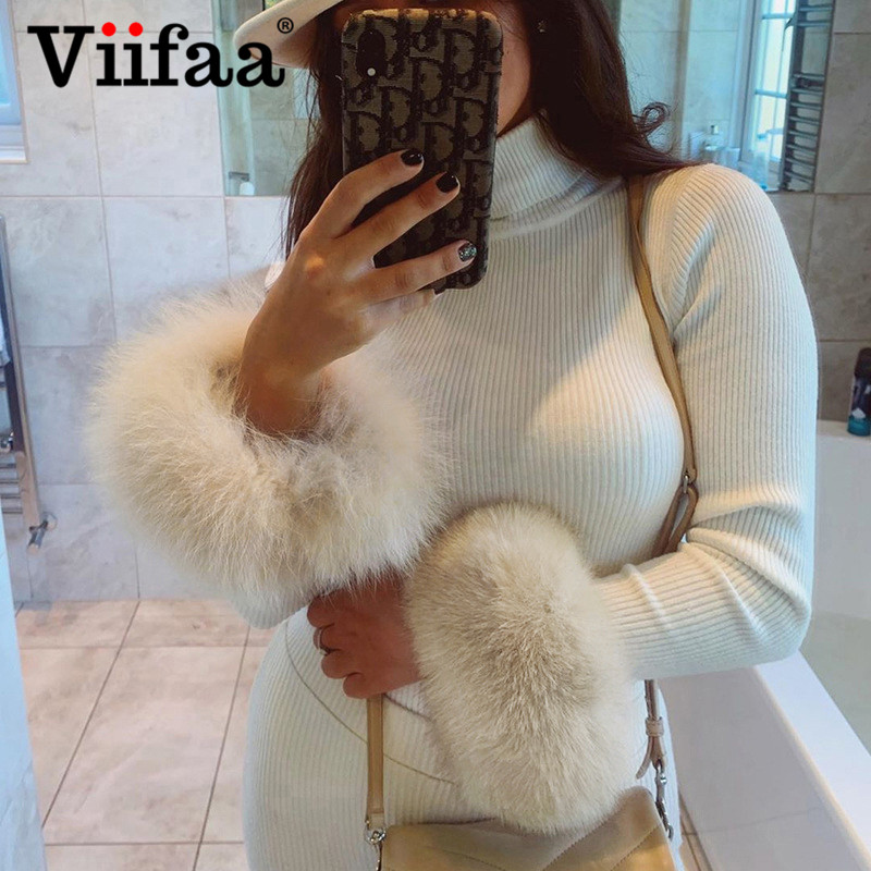Viifaa White Jumper Fur Cuff Long Sleeve Slim Fitted Turtleneck Sweater Women Winter Knitted Tops Streetwear Fashion Pullover