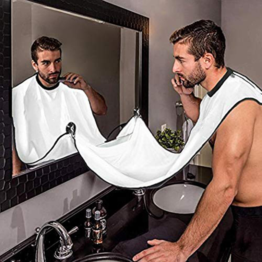 Man Shave Beard Apron Black Hair Shave Apron ib Trimmer Holder Beard Catcher Waterproof Household Bathroom Cleaning Protector
