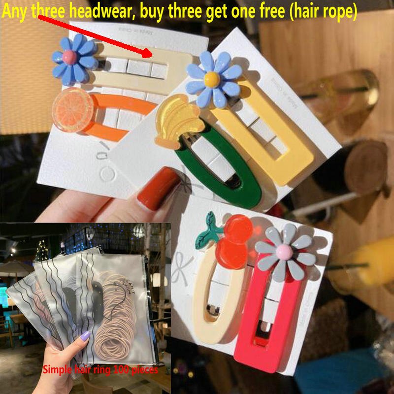 Buy Three Get One Free  Girl Cute Cartoon Animal Fruit 5 Cm Hairpin Children Cute Hairpin Hairpin Hairpin Child Hair Accessories