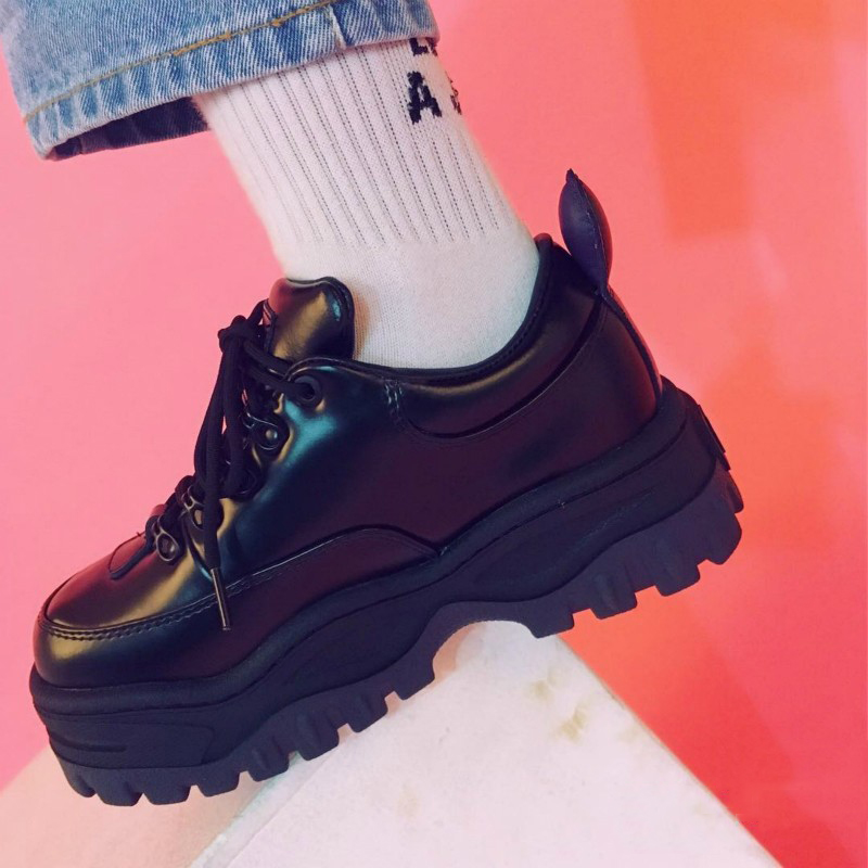Round Toe Black European China Elevator Harajuku Women Thick Sole Lace Up Muffin Creepers Platform Shoes