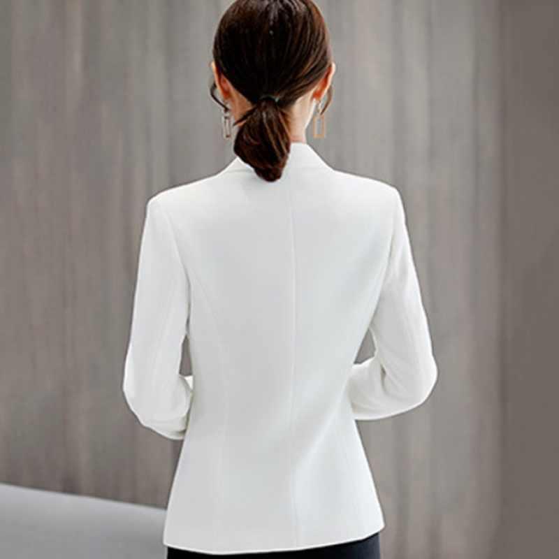 Mulher blazer 2019 plus size casaco de algodão feminino trabalho escritório wear jaquetas terno fino senhoras outerwear branco formal mulher blazer 27