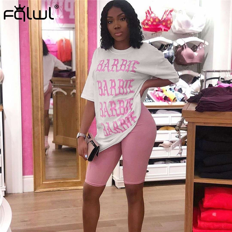 FQLWL Casual 2 Piece Set Women Suits Outfits Oversized T Shirt And Biker Shorts Set Ladies Tracksuit Female Summer Matching Sets