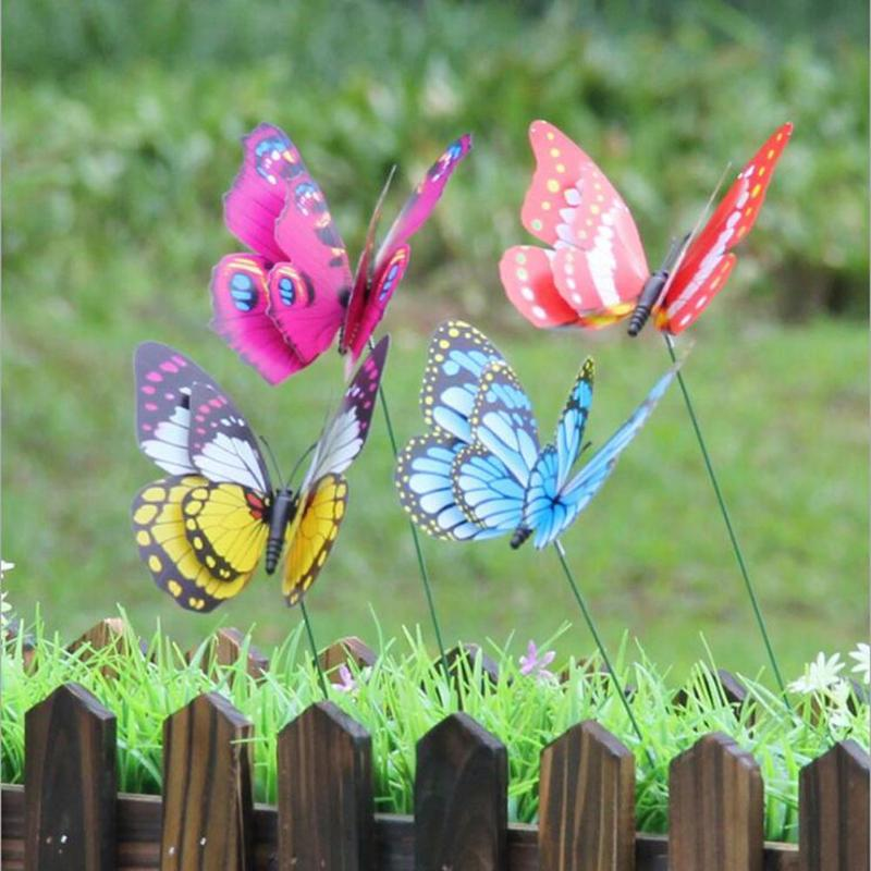 4pcs Pvc 3d Colorful Butterfly Stakes Outdoor Garden Yard Flower