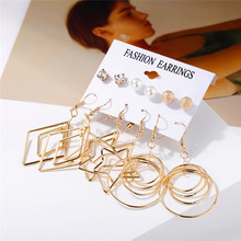HOCOLE Fashion Geometric Gold Earrings Set For Women Crystal Pearl Metal Drop Dangle Modern Jewelry Bijoux Femme 2019