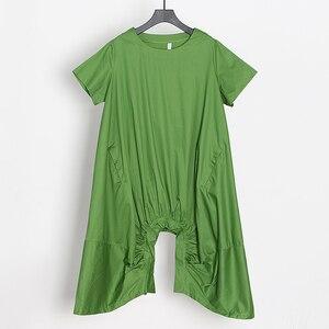 Image 5 - Женское Повседневное платье CHICEVER, однотонное свободное платье до середины икры с круглым вырезом, коротким рукавом, драпировкой и разрезом на подоле размера плюс, новинка 2020